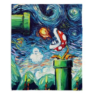 Decorative Fleece Throw Blankets | Aja Ann - Van Gogh Super Mario Bros 2 | Artistic Brush Strokes Nintendo brothers pirahna plant fire ball video games old school