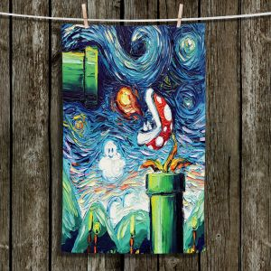 Unique Hanging Tea Towels | Aja Ann - Van Gogh Super Mario Bros 2 | Artistic Brush Strokes Nintendo brothers pirahna plant fire ball video games old school