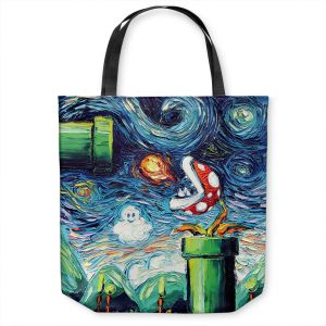 Unique Shoulder Bag Tote Bags | Aja Ann - Van Gogh Super Mario Bros 2 | Artistic Brush Strokes Nintendo brothers pirahna plant fire ball video games old school