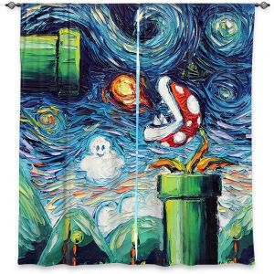 Decorative Window Treatments | Aja Ann - Van Gogh Super Mario Bros 2 | Artistic Brush Strokes Nintendo brothers pirahna plant fire ball video games old school
