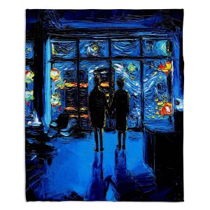 Decorative Fleece Throw Blankets | Aja Ann - Van Gogh The World Burn | Artistic Brush Strokes Fight Club movie pop culture Chuck Palahniuk