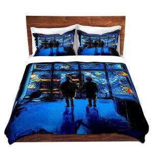 Artistic Duvet Covers and Shams Bedding | Aja Ann - Van Gogh The World Burn | Artistic Brush Strokes Fight Club movie pop culture Chuck Palahniuk