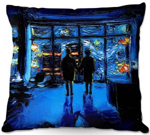 Decorative Outdoor Patio Pillow Cushion   Aja Ann - Van Gogh The World Burn   Artistic Brush Strokes Fight Club movie pop culture Chuck Palahniuk