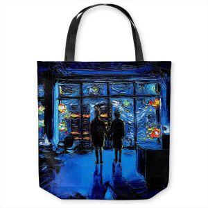 Unique Shoulder Bag Tote Bags | Aja Ann - Van Gogh The World Burn | Artistic Brush Strokes Fight Club movie pop culture Chuck Palahniuk