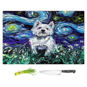 Artistic Kitchen Bar Cutting Boards | Aja Ann - Westie | Starry Night Dog Animal