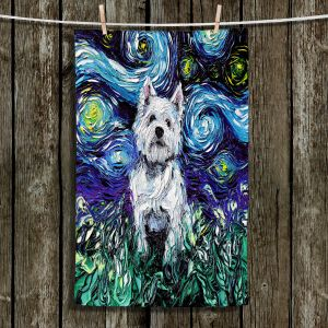 Unique Bathroom Towels | Aja Ann - Westie | Starry Night Dog Animal