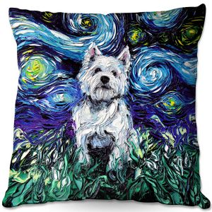 Throw Pillows Decorative Artistic | Aja Ann - Westie | Starry Night Dog Animal