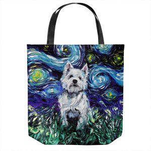 Unique Shoulder Bag Tote Bags | Aja Ann - Westie | Starry Night Dog Animal