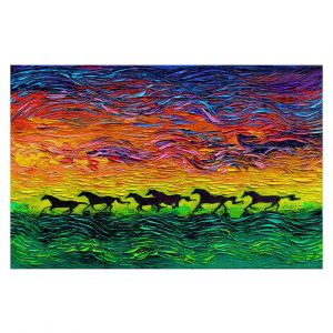 Decorative Floor Covering Mats | Aja Ann - Wild Horses | Rainbow Mustangs