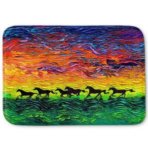 Decorative Bathroom Mats | Aja Ann - Wild Horses | Rainbow Mustangs