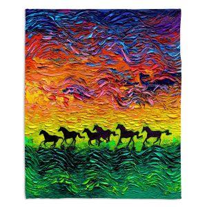 Decorative Fleece Throw Blankets | Aja Ann - Wild Horses | Rainbow Mustangs