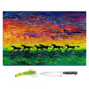 Artistic Kitchen Bar Cutting Boards | Aja Ann - Wild Horses | Rainbow Mustangs