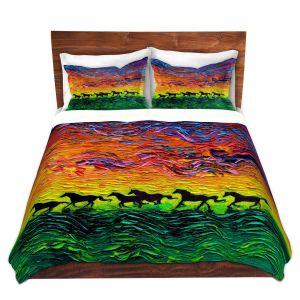 Artistic Duvet Covers and Shams Bedding   Aja Ann - Wild Horses   Rainbow Mustangs