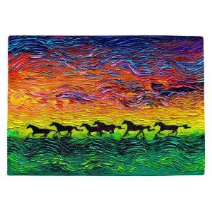 Countertop Place Mats | Aja Ann - Wild Horses | Rainbow Mustangs