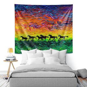 Artistic Wall Tapestry | Aja Ann - Wild Horses | Rainbow Mustangs