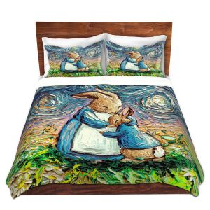 Artistic Duvet Covers and Shams Bedding | Aja Ann - With Love | Mom Baby Bunny