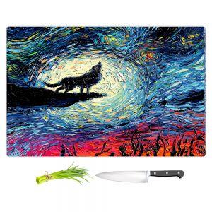 Artistic Kitchen Bar Cutting Boards | Aja Ann - Wolf Moon | Starry Night van Gogh, howling wolf