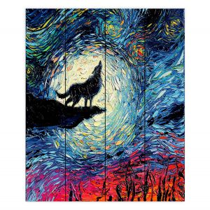Decorative Wood Plank Wall Art | Aja Ann - Wolf Moon | Starry Night van Gogh, howling wolf