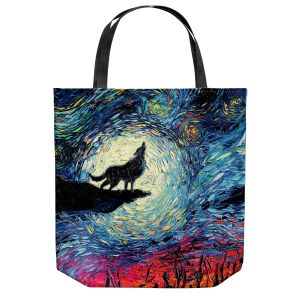 Unique Shoulder Bag Tote Bags | Aja Ann - Wolf Moon | Starry Night van Gogh, howling wolf