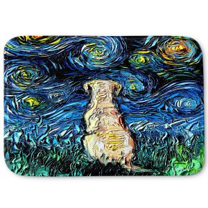 Decorative Bathroom Mats | Aja Ann - Yellow Labrador | Starry Night Dog Animal