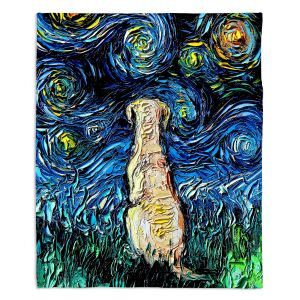 Artistic Sherpa Pile Blankets | Aja Ann - Yellow Labrador | Starry Night Dog Animal