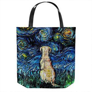 Unique Shoulder Bag Tote Bags   Aja Ann - Yellow Labrador   Starry Night Dog Animal