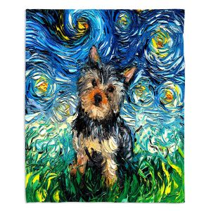 Artistic Sherpa Pile Blankets | Aja Ann - Yorkie | Starry Night Dog Animal