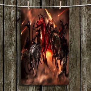 Unique Hanging Tea Towels   Alex Ruiz - Four Horsemen Dragons   Horses Fantasy Make Believe