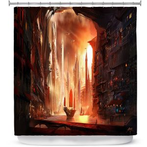 Unique Shower Curtain from DiaNoche Designs by Alex Ruiz - Future Harbor