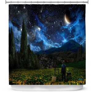 Premium Shower Curtains | Alex Ruiz Starry Night