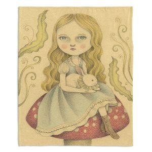 Decorative Fleece Throw Blankets | Amalia K. - Alice Contemplating