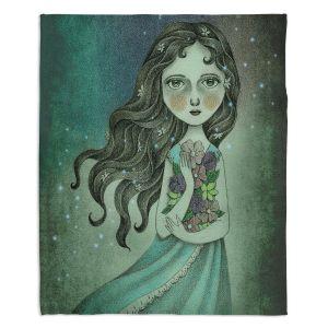 Decorative Fleece Throw Blankets | Amalia K. - Flower the Midnight Goddess