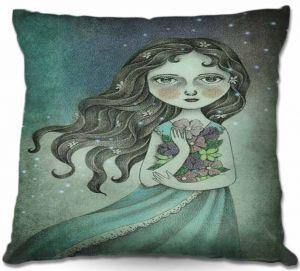 Throw Pillows Decorative Artistic | Amalia K. Flower the Midnight Goddess