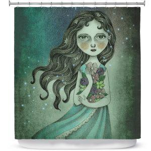 Premium Shower Curtains | Amalia K. Flower the Midnight Goddess