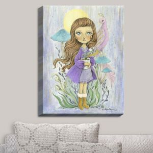 Decorative Canvas Wall Art | Amalia K. - Gift of Gold | Little Girls Birds Nature