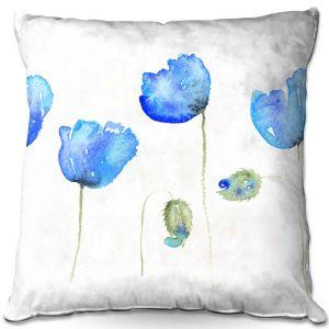 Throw Pillows Decorative Artistic | Amanda Hawkins - Azure Poppies | Floral Flowers