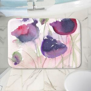 Decorative Bathroom Mats | Amanda Hawkins - Black Poppies 2 | Floral Flowers