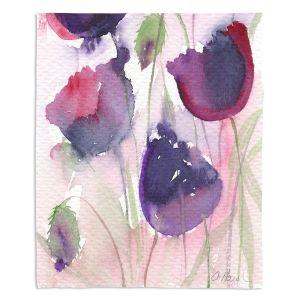 Decorative Fleece Throw Blankets | Amanda Hawkins - Black Poppies 2 | Floral Flowers