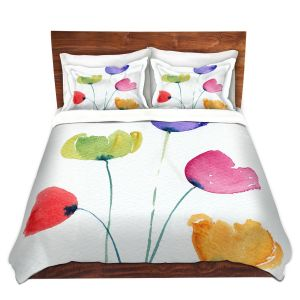 Artistic Duvet Covers and Shams Bedding | Amanda Hawkins - Colourful Poppies | Floral Flowers
