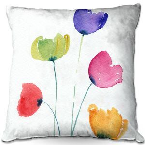 Decorative Outdoor Patio Pillow Cushion   Amanda Hawkins - Colourful Poppies   Floral Flowers