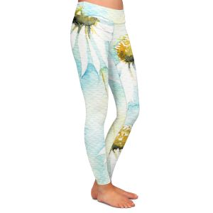 Casual Comfortable Leggings | Amanda Hawkins - Daisies Sea Breeze