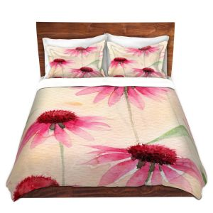 Artistic Duvet Covers and Shams Bedding | Amanda Hawkins - Echinacea 1 | Floral Flowers