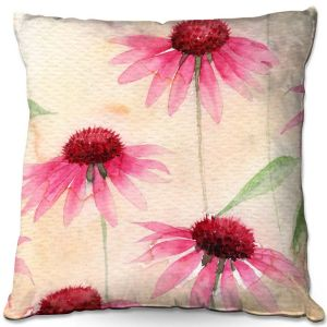 Decorative Outdoor Patio Pillow Cushion | Amanda Hawkins - Echinacea 1 | Floral Flowers