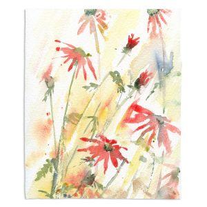 Decorative Fleece Throw Blankets | Amanda Hawkins - Flower Border | Floral Flowers
