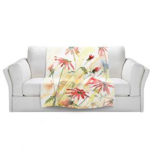 Artistic Sherpa Pile Blankets | Amanda Hawkins - Flower Border | Floral Flowers