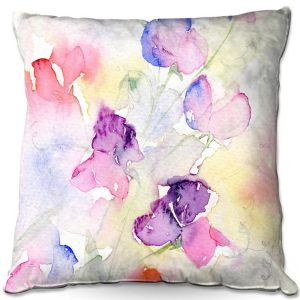 Decorative Outdoor Patio Pillow Cushion | Amanda Hawkins - Garden Sweet Peas | Floral Flowers