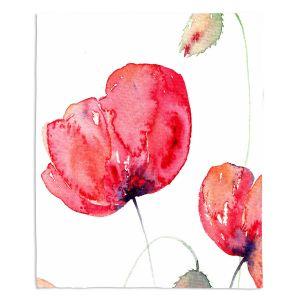 Artistic Sherpa Pile Blankets | Amanda Hawkins - Large Red Poppies | Floral Flowers