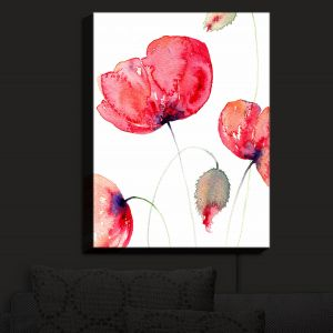 Nightlight Sconce Canvas Light | Amanda Hawkins - Large Red Poppies | Floral Flowers