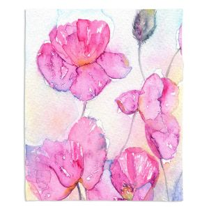 Decorative Fleece Throw Blankets   Amanda Hawkins - Pink Poppies   Floral Flowers