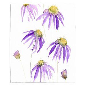 Decorative Fleece Throw Blankets | Amanda Hawkins - Purple Echinacea | Floral Flowers